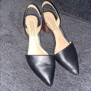 Antoni Melani leather sling shoes , block heel.